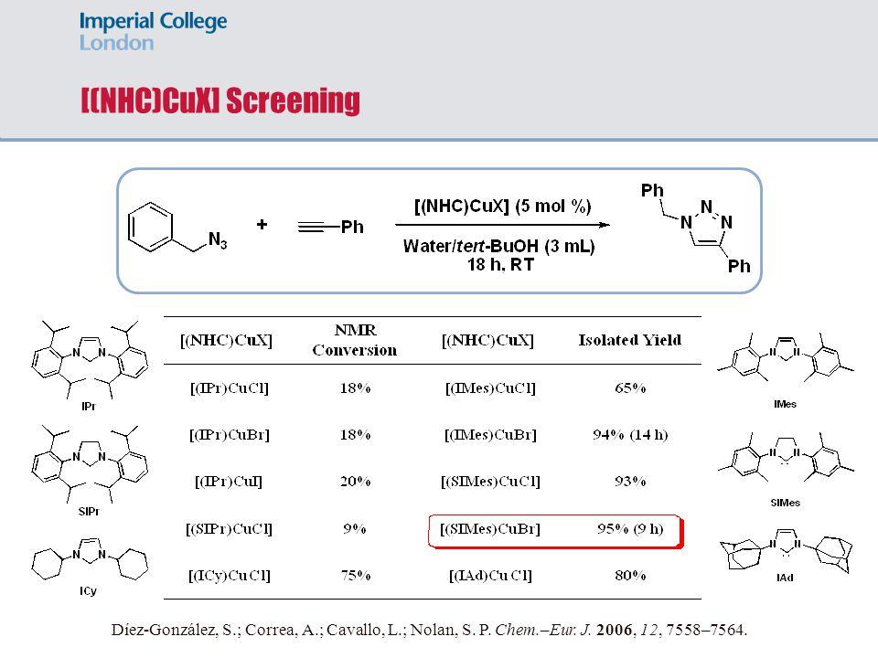 [(NHC)CuX] Screening Díez-González, S.; Correa, A.; Cavallo, L.; Nolan, S. P. Chem.–Eur. J. 2006, 12, 7558–7564.